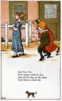 Tell tale tit/Your tongue shall be slit: Illustration by Kate Greenaway 1846-1901 for a book of nursery rhymes  Chromolithograph