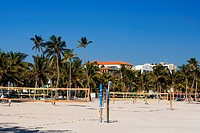 Volleyball nets on the beach, Miami Beach, Florida, USA