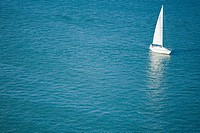 High angle view of a yacht in the sea