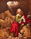 Daniel, one of four great Hebrew prophets, l cast into the Lions' den by Nebuchadnezzar Nebuchadrezzar king of Babylon who is calling down '  is thy G...