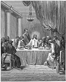 Jesus and his disciples at the Last Supper  Mark 14:22  From Gustave Dore 'Bible', 1866  Wood engraving