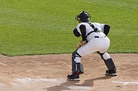 Catcher ready for the throw into home