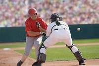Baseball player charging the catcher (thumbnail)