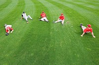 Baseball players stretching