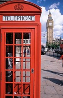 Big Ben and traditional red phone booth, London, England