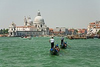 Italy, Venice, Grand Canal, gondolas on water