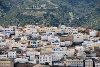 Morrocco, Moulay Idriss, hillside town, elevated view