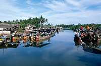 Malaysia, Kota Bahru, mooerd fishing boats