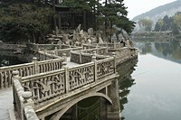 China, Mount Lushan bridge over river