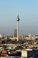 Germany, Berlin, Broadcast tower at Alexanderplatz, elevated view