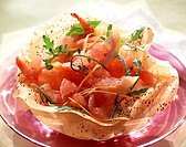 grapefruit, smoked salmon and prawn salad