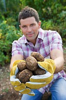 Man kneeling in vegetable garden, holding bunch of potatoes, smiling, portrait