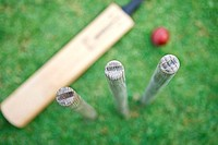 Cricket bat, stumps and ball, focus on foreground, overhead view