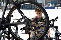 Man shopping for new bike in bicycle shop