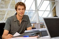 Young businessman in casual grey short-sleeved shirt working at desk in office, smiling, portrait