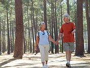 Senior couple hiking in wood, holding hands, side by side, smiling, front view