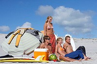 Four young friends relaxing on beach beside sunshade, cooler and surfboards, smiling, side view