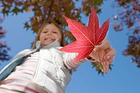 Girl 7-9 holding red maple leaf in park in autumn, smiling, close-up, portrait, upward view