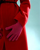 Red coat with glove