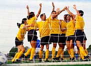 Soccer Team Celebrating in front of Goal