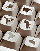 Continents on Computer Keys
