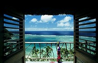 Fiji, Wakaya Island, Private home, Beautiful oceanview through doorway, Towel and flip-flops on lanai