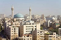Jordan, Amman, overview of the city and Blue Mosque