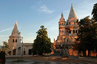 Hungary, Budapest, Fishermen's Bastion at sunset