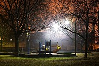 Park at night, illuminated