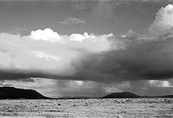 Black and white view of southwest landscape