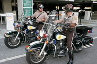 Motorcycle policemen. University of Miami Miller School of Medicine. Miami. Florida. USA