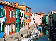 Houses and canal in burano