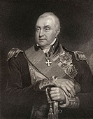 Admiral Edward Pellew 1st Viscount Exmouth 1757 to 1833 British naval officer and admiral   Engraved by W Holl after W Owen  From the book National Po...