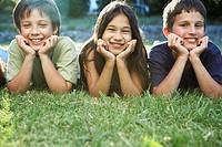 Group of Children Lying in Grass