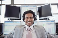 Smiling financial trader