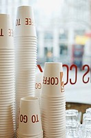 Stacks of disposable coffee cups