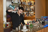 Bartender pouring liquor into cocktail shaker