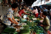 Market, stall, with, vegetables, Phuket, Thailand,