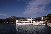 Ferry, in, harbour, Vassiliki, Lefkas, Greece,
