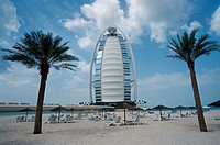 Burj, Al, Arab, Hotel, and, private, beach, Jumeirah, Beach, Resort, Dubai, United, Arab, Emirates