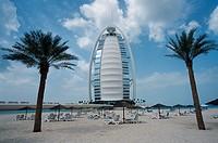 Burj, Al, Arab, Hotel, and, private, beach, Jumeirah, Beach, Resort, Dubai, United, Arab, Emirates
