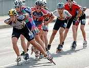 Inline, skater, during, contest, helmet,