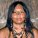 Young, Indian, woman, of, the, tribe, of, Dessanos, with, painted, face, Rio, Taruma, Amazon, state, Brazil,