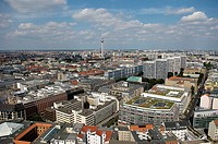 Aerial, view, over, town, with, television, tower, Berlin, Germany,