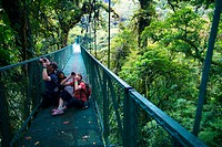 Sky walk over tropical forest, Monteverde Cloud Forest Reserve, Santa Elena, Costa Rica