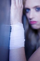 Woman with injured wrist