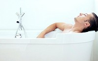 Man relaxing in the bathtub
