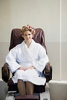Portrait of woman in pedicure chair