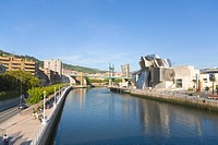 Spain, Bilbao, Nervion river, Guggenheim Museum