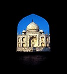 The Taj Mahal through entrance gates. Agra, India